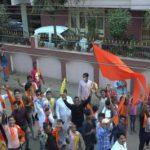 Ram Shanthas in Prabhatferi shouted slogans of Jai Shri Ram in Shanti Nagar