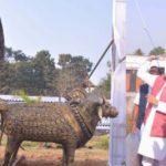 Bhupesh Baghel today inaugurated the bullock cart constructed from Kansa installed at Maa Danteshwari Airport in Jagdalpur